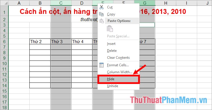 cach an cot an hang trong excel 2016 2013 2010