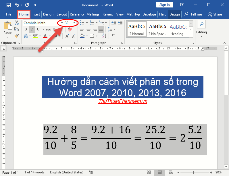 cach viet phan so trong word huong dan cach viet phan so trong word 2007 2010 2013 2016